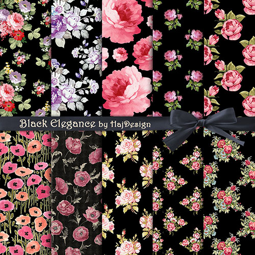 Black Elegance Digital Collage Sheet Digital Paper Decoupage Paper Scrapbook Paper