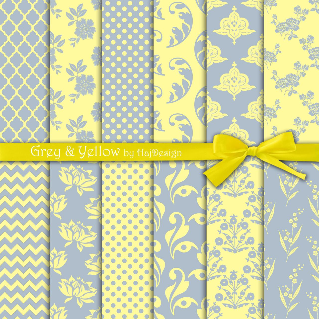 Grey And Yellow Digital Collage Sheet Digital Paper Decoupage Paper Scrapbook Paper