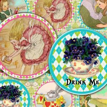 Alice in Wonderland - Digital Collage Sheet - Digital Paper - 2 inch circle - circle images - pocket mirror - magnet - jewelry handmade